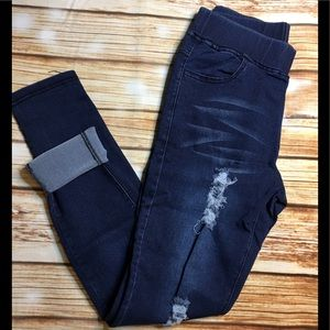 Pants - M❤️ Dark Denim Distressed Skinny Jeggings